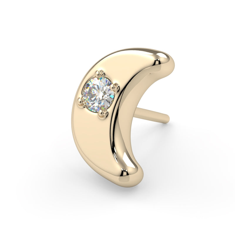 Diamond Moon Charm 14k Gold End