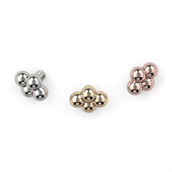4 Bead Charm 14k Gold End