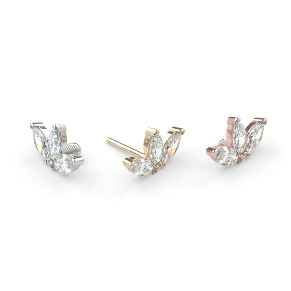 Triple Diamond Marquise Fan End