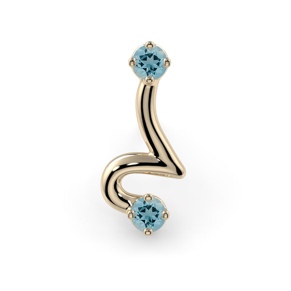Squiggle 3 Genuine Aquamarine 14K Gold End