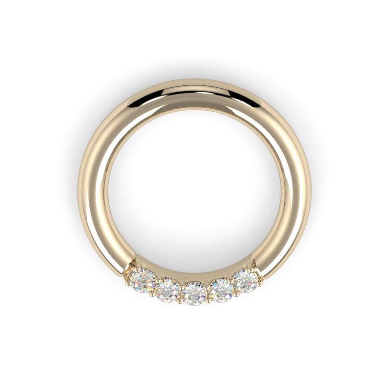 14K Gold Five Diamond Fixed Gem Seam Ring - Nipple Configuration