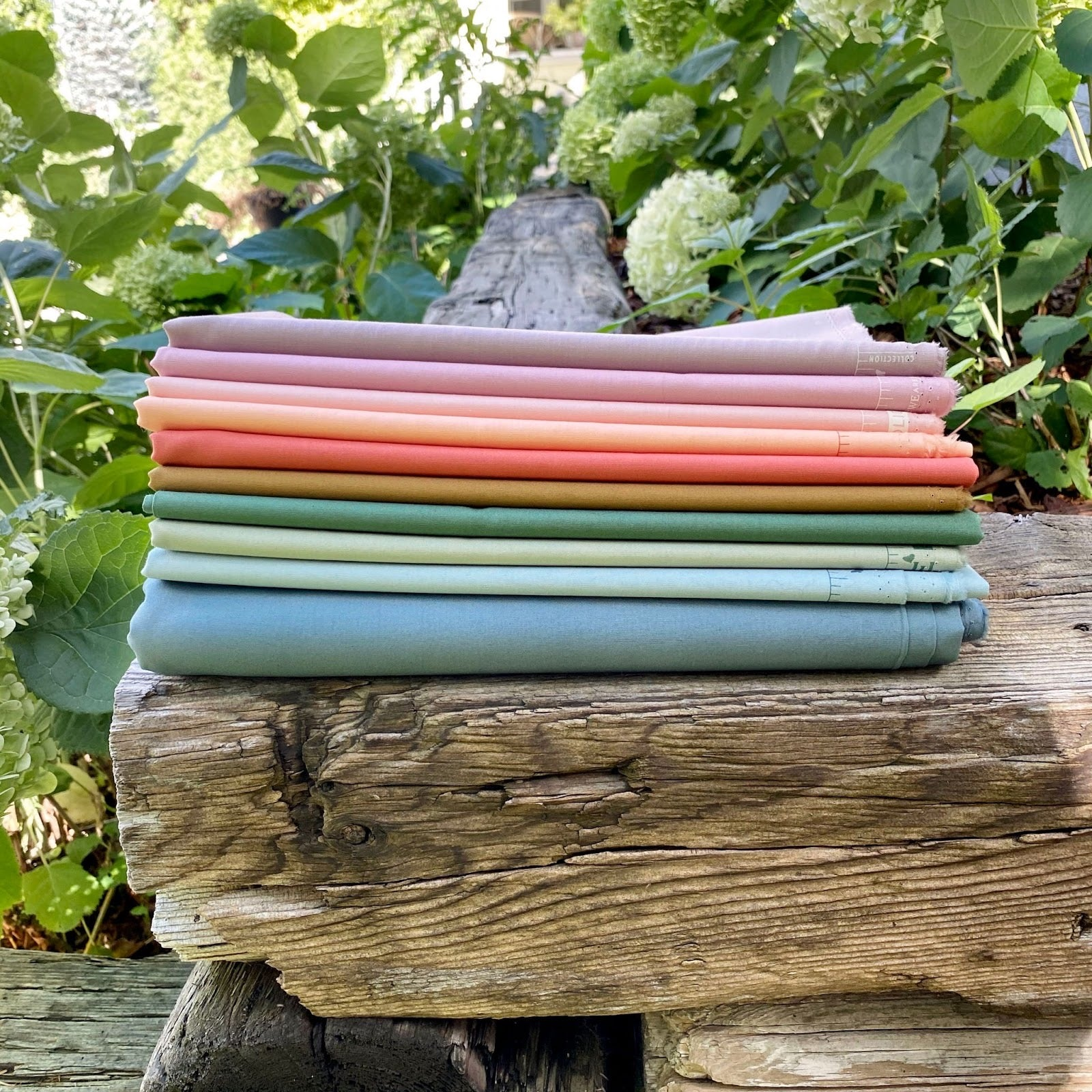 Stack of Fabric Outside
