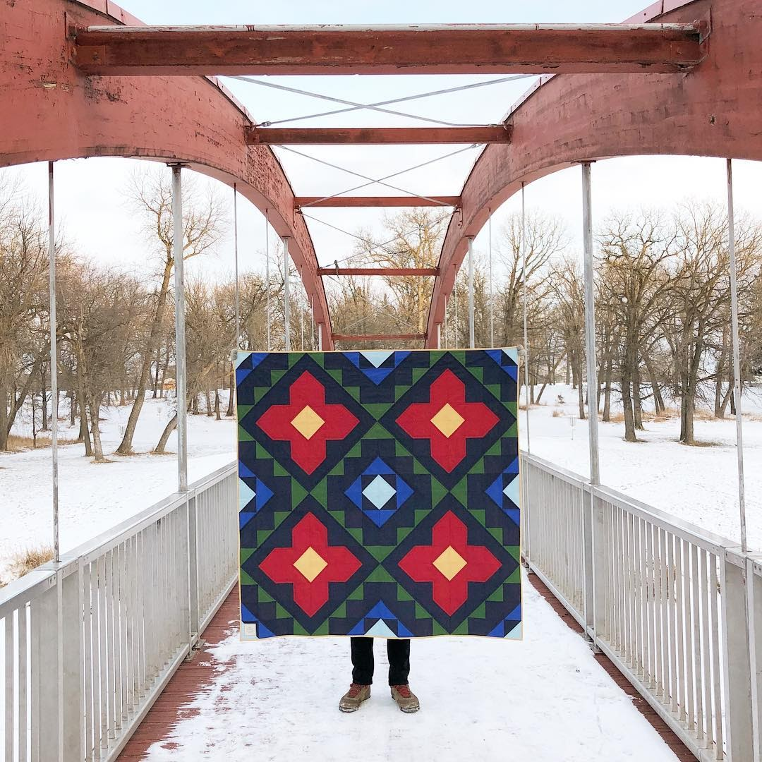 Dark Blue Green Red Yellow Spruce Woods Quilt