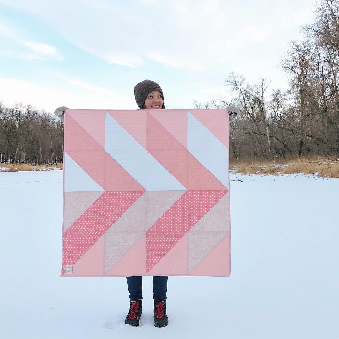 Erin With Pink Pine Falls Baby Quilt