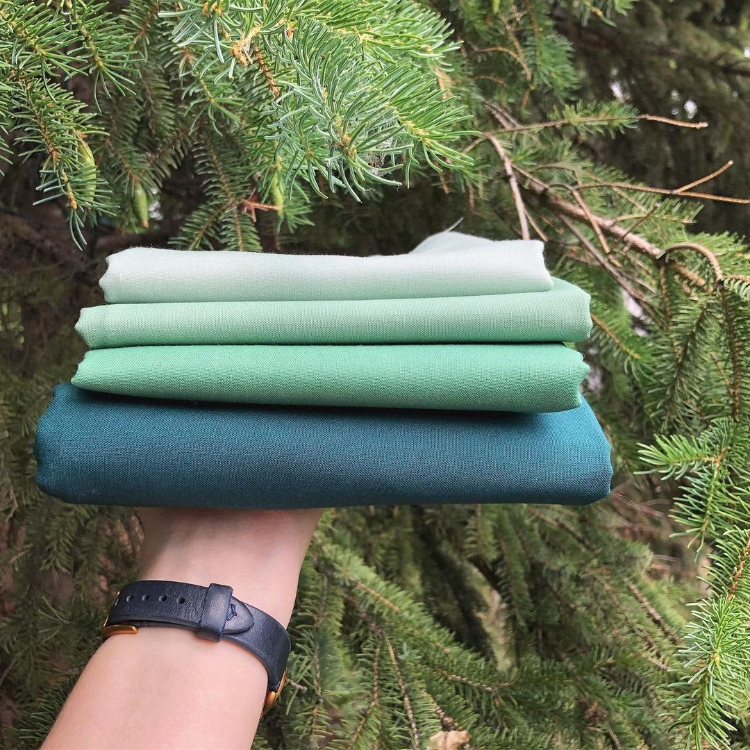 Green Birds Hill Fabric Stack