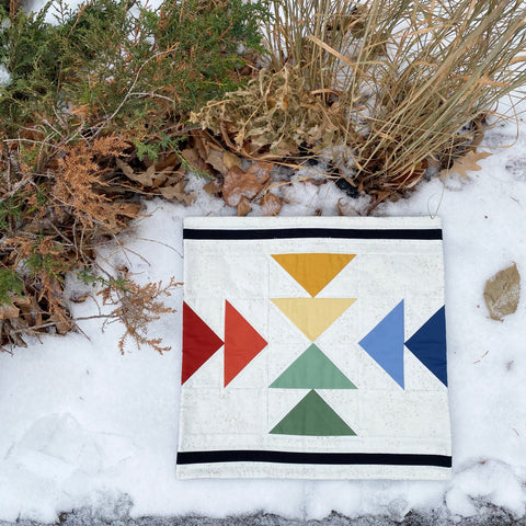 Landmark Mini Quilt Rainbow Scrappy Snow