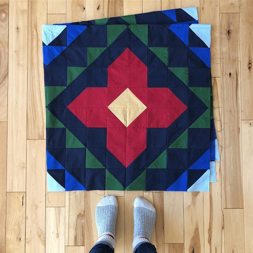Spruce Woods Dark Blue Red Green Yellow Quilt Block