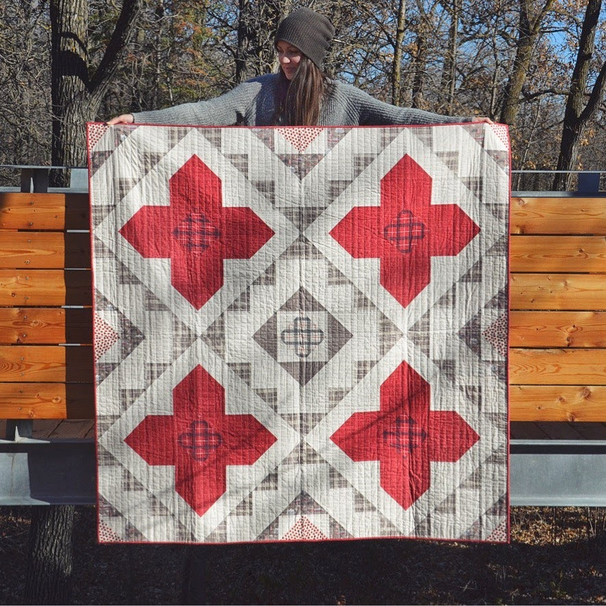 Erin Holding True North Spruce Woods Quilt