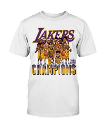 Los Angeles Lakers 2020 NBA Finals Champions Team Caricature T-Shirt