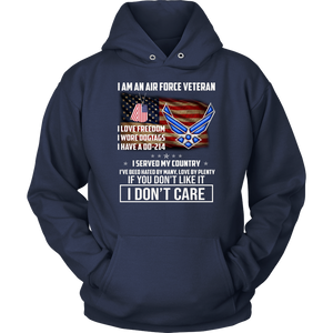 I am an air force veteran i love freedom i wore dogtags i have a DD-214 i served my country shirt