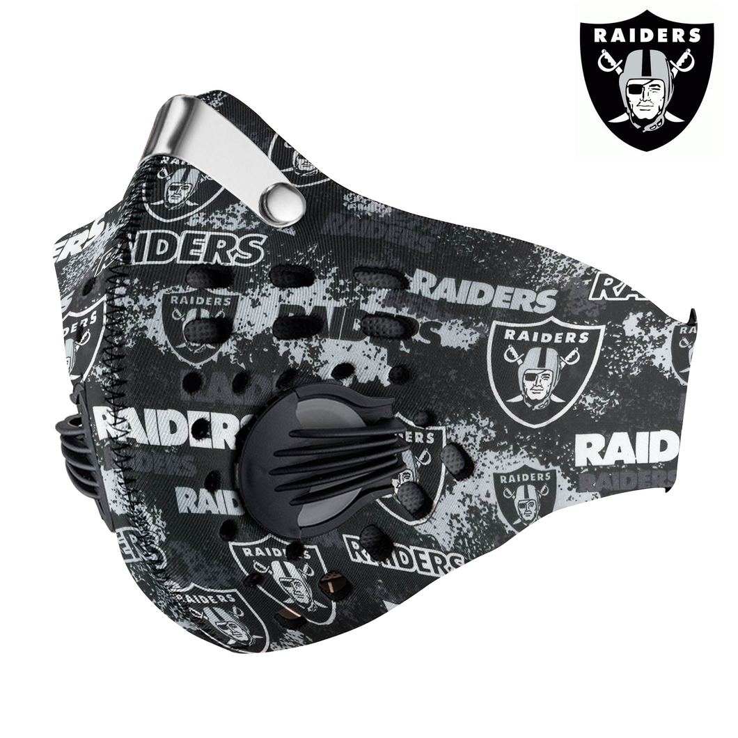 New - Oakland Raiders Carbon PM 2,5 Face Mask