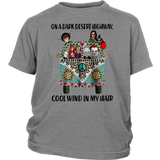 On a dark desert highway cool wind in my hair Stephen King characters shirt Funny Halloween