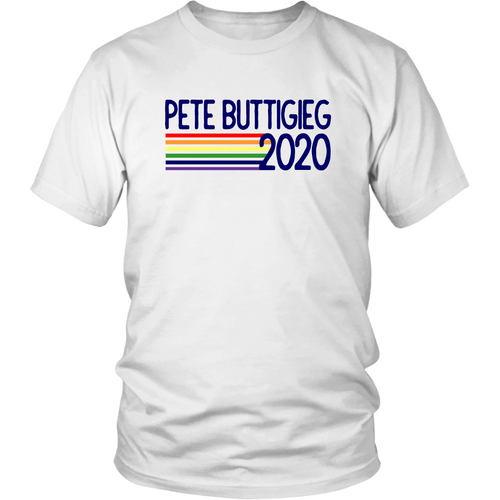 Mayor Pete Buttigieg 2020 Retro Pride Rainbow design T-Shirt