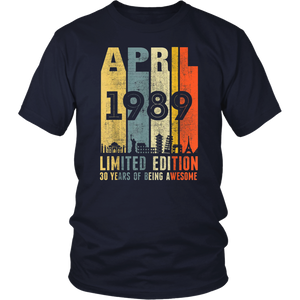 APRIL 1989 Vintage Funny 30th Birthday Gift T Shirt
