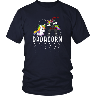 Dadacorn - Cute Tshirts Dabbing Unicorn Dad and Kid