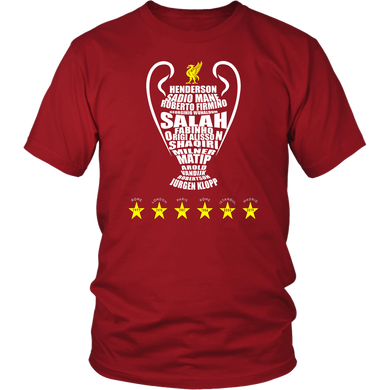 Liverpool Six Times UEFA Champions - Team Roster Shirt