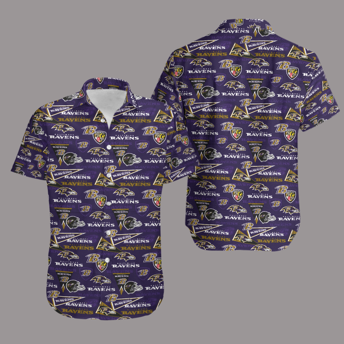 Baltimore Ravens Retro AOP Hawaiian Shirt