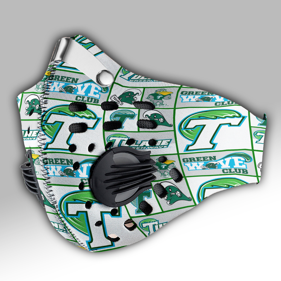 Tulane Green Wave Carbon PM 2,5 Face Mask