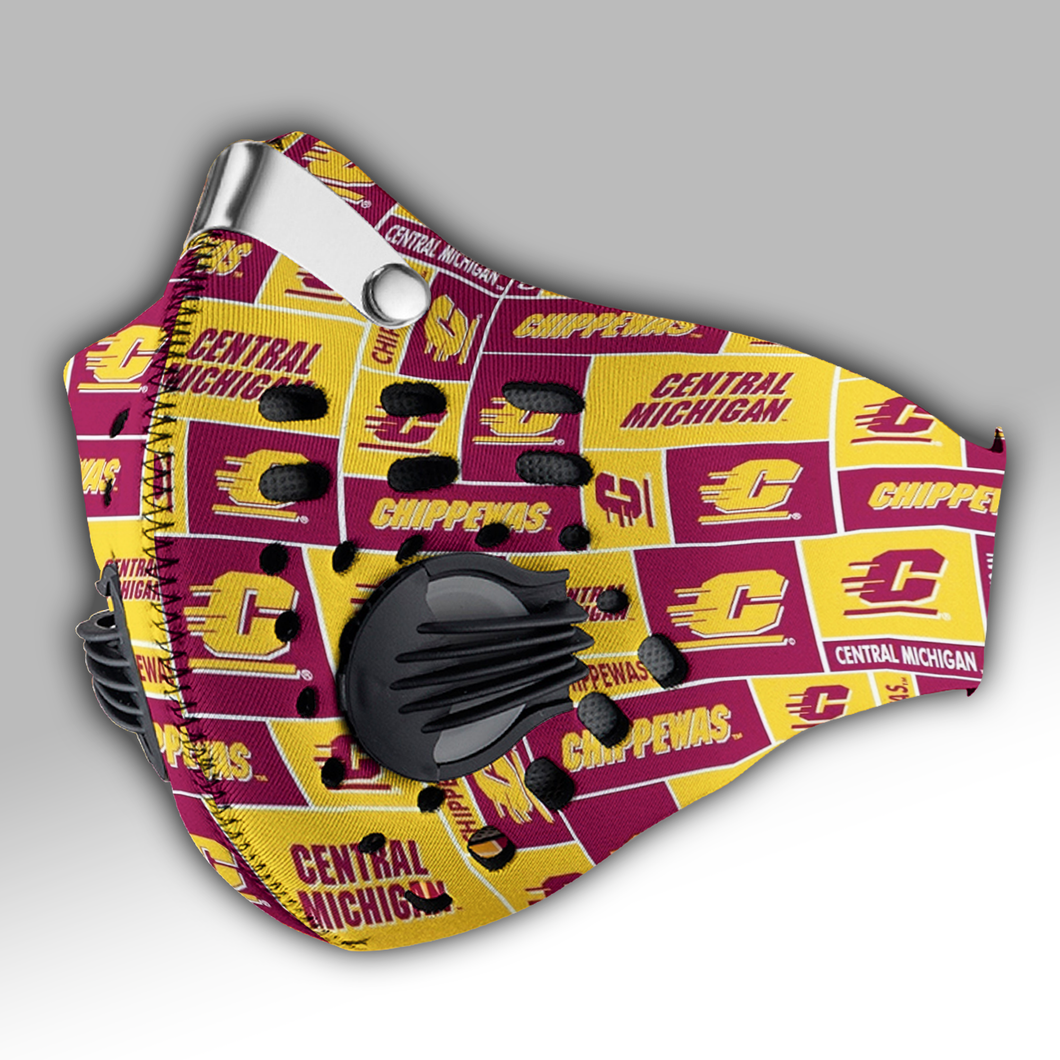 Central Michigan Chippewas Carbon PM 2,5 Face Mask