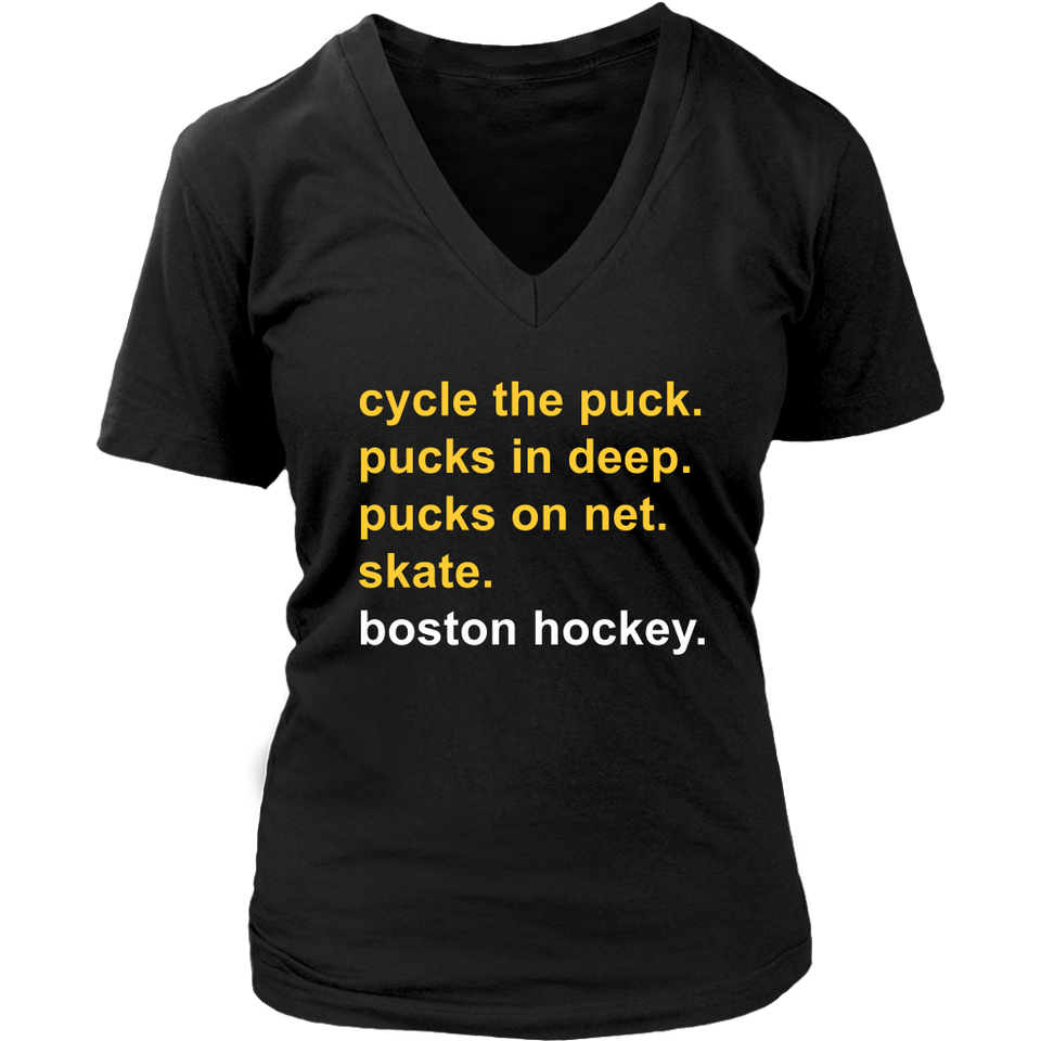 cycle the puck - pucks in deep - pucks on net - skate - boston hockey shirt