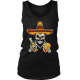 Funny Mexican Sugar Skull with Tacos and Beer Shirt Cinco De Mayo Skull T-Shirts Gifts