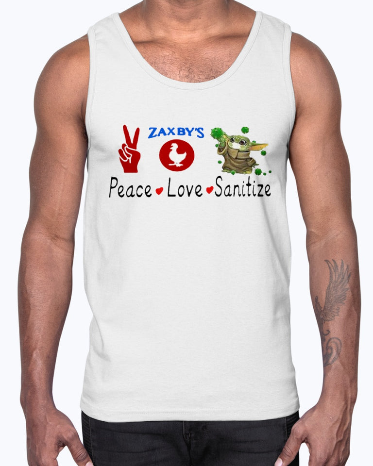 Baby Yoda - Peace - Love - Sanitize - Zaxby's Shirt