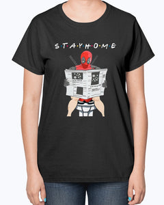 Deadpool on toilet stay home shirt
