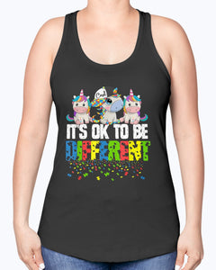 IT'S OK TO BE DIFFERENT T-SHIRT AUTISM AWARENESS DAY UNICORN GIFT