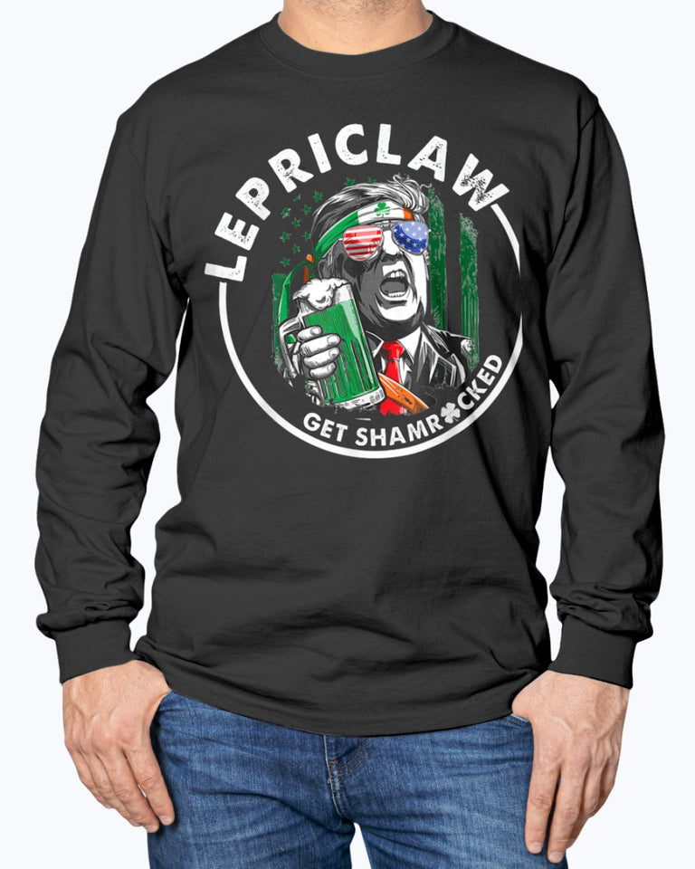 Trump Lover Gifts Drinking Lepriclaw Get Shamrocked St Paddy T-Shirt