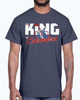 THE KING OF COLUMBUS SHIRT Elvis Merzlikins - Columbus Blue Jackets