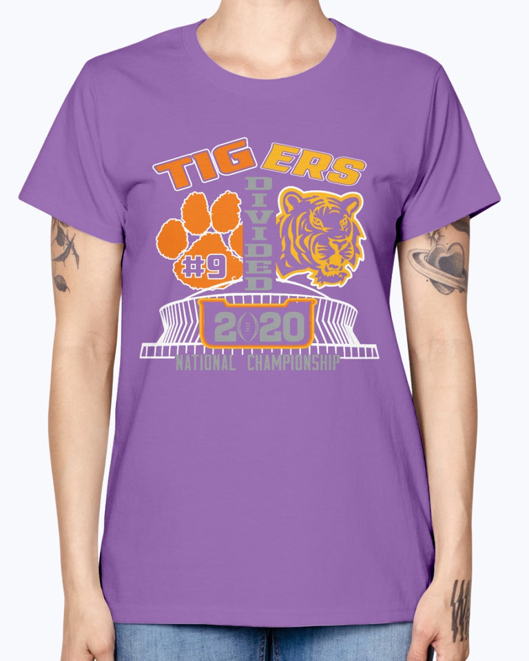 Tigers Divided T-Shirt - College Football Playoff National Championship between LSU and Clemson - Clemson Tigers - LSU Tigers