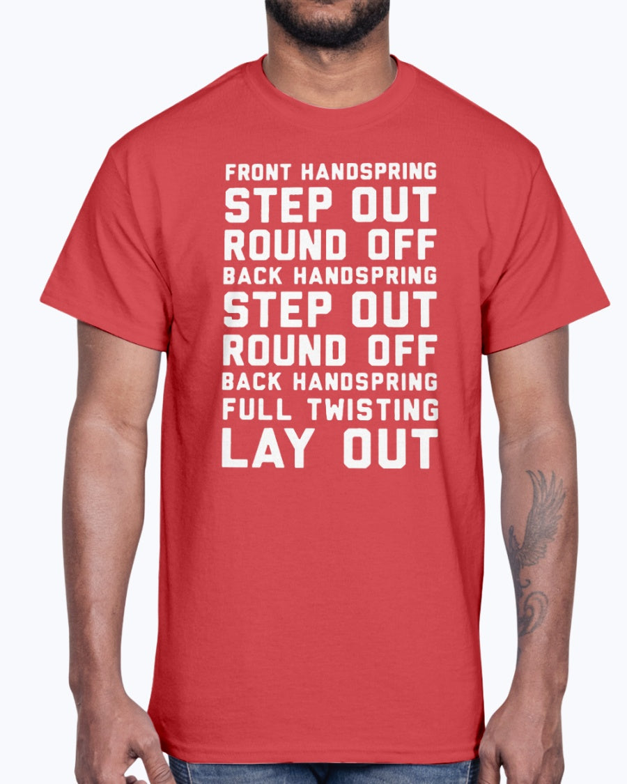 FONT HANDSPRING - STEP OUT - ROUND OFF - BACK HANDSPRING - STEP OUT - ROUND OFF - BLACK HANDSPRING - FULL TWISTING LAY OUT SHIRT