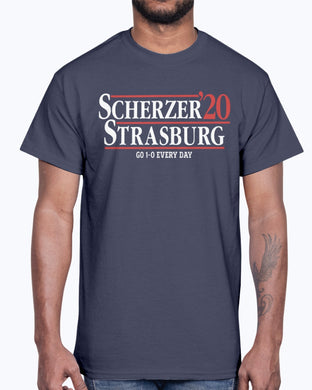 SCHERZER STRASBURG 2020 SHIRT GO 1- 0 EVERY DAY