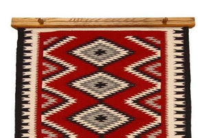 "Navajo rug hanger 36"" medium stained oak"