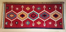 Load image into Gallery viewer, Navajo rug hanger medium stained oak