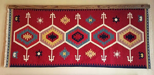 Navajo rug hanger medium stained oak