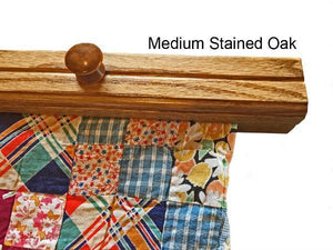 textile hanger closeup medium stained oak