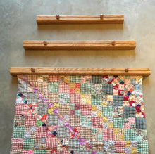 Load image into Gallery viewer, 3 quilt hangers medium stained oak