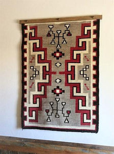 Navajo rug hanger dark walnut stained oak