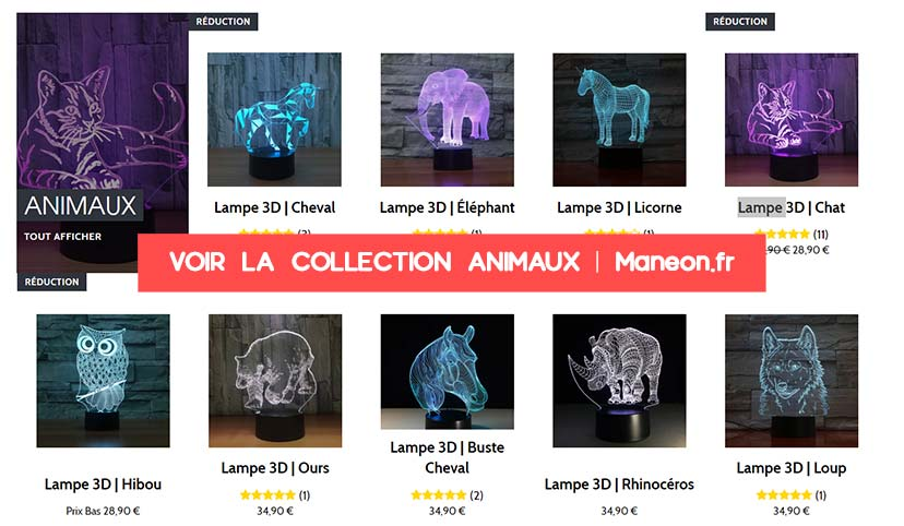 Collection animaux lampe 3D