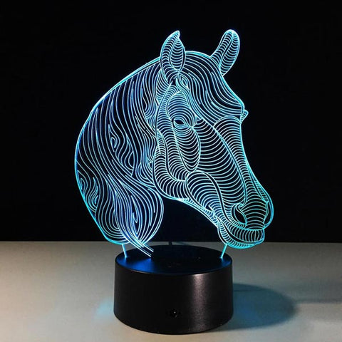 Lampe 3D cheval buste