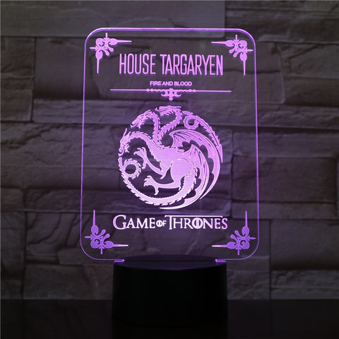 Lampe 3D Game of Thrones Targaryen