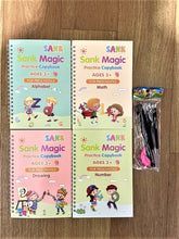 Load image into Gallery viewer, 4 Books/Sets of Children's Magic Books, Reusable 3D Calligraphy Copybooks, English Number Lettering Magic Practice Copybooks