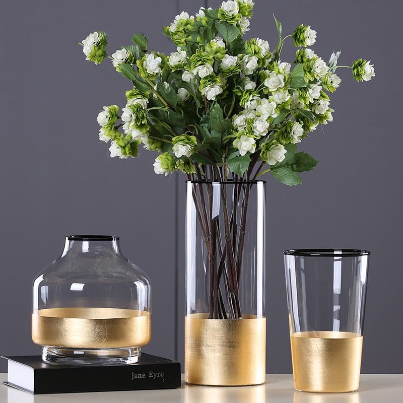 European Flower Vase with Gold Foil