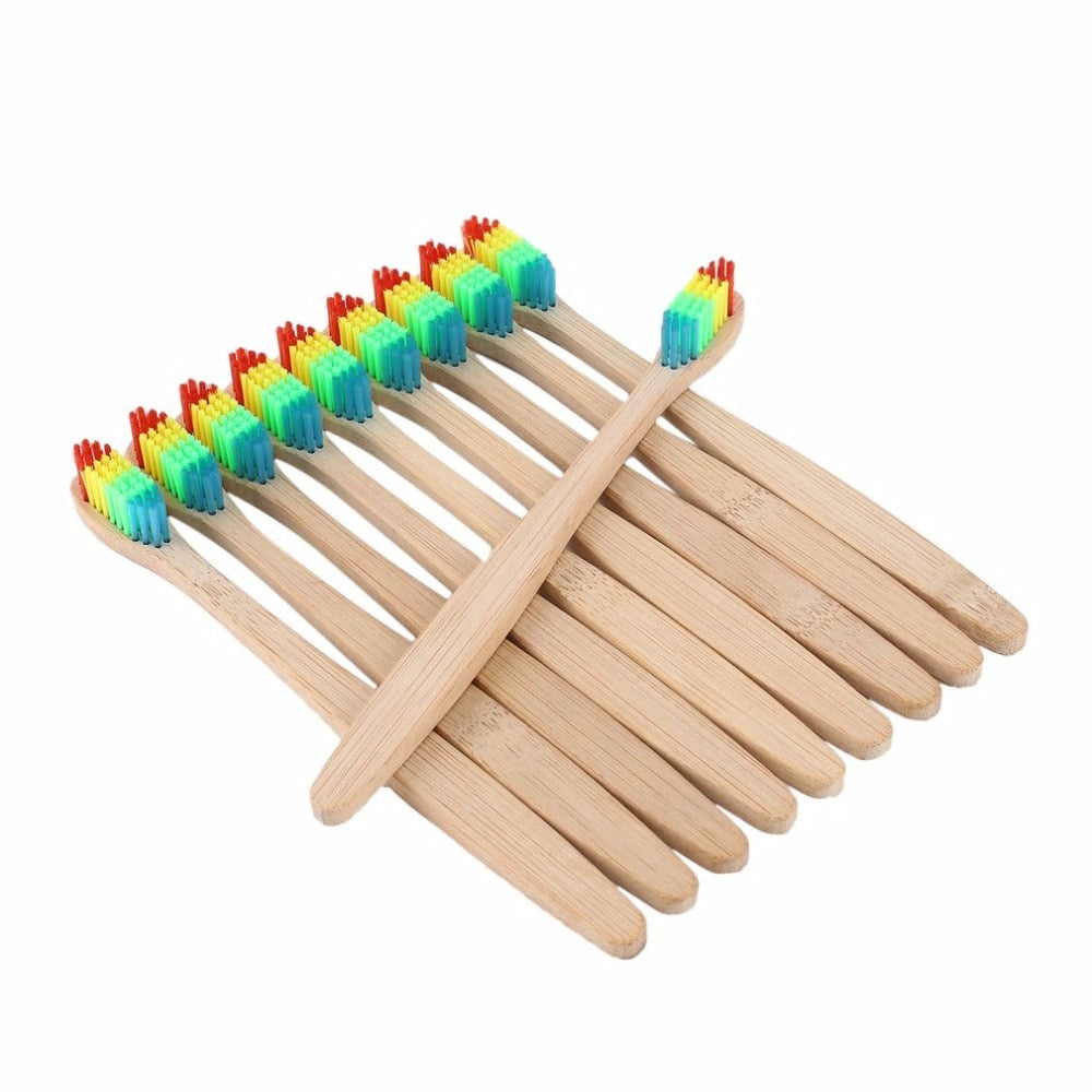 Eco friendly Wooden Rainbow Bamboo Handle Toothbrush
