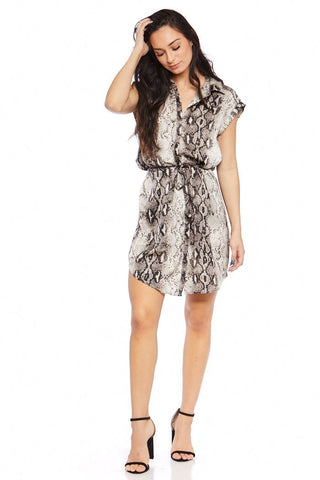 Clare Snakeskin Button Up Dress