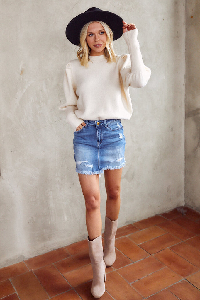 Maggy Distressed Hem Denim Skirt
