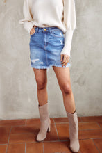 Load image into Gallery viewer, Maggy Distressed Hem Denim Skirt