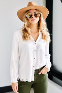 Darby Distressed Hem Button Down Top