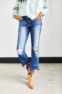 Elsie Distressed Crop Straight Jeans